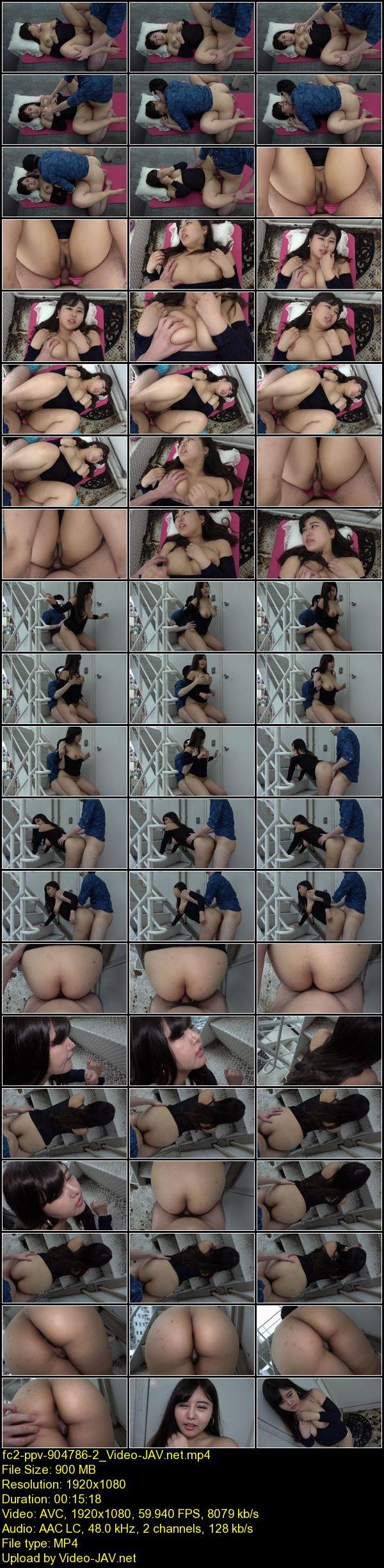 JAV Download AV FC2 PPV 904786 【個人撮影】エミリ19歳 Hカップ爆乳美女と屋上中出しSEX!